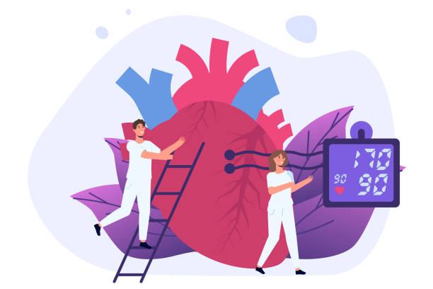 bildbanksillustrationer, clip art samt tecknat material och ikoner med högt blodtryck, hypertonisjukdom. små läkare behandla, inspektion kontrollera mänskliga heart. vektorillustration. - kardiolog