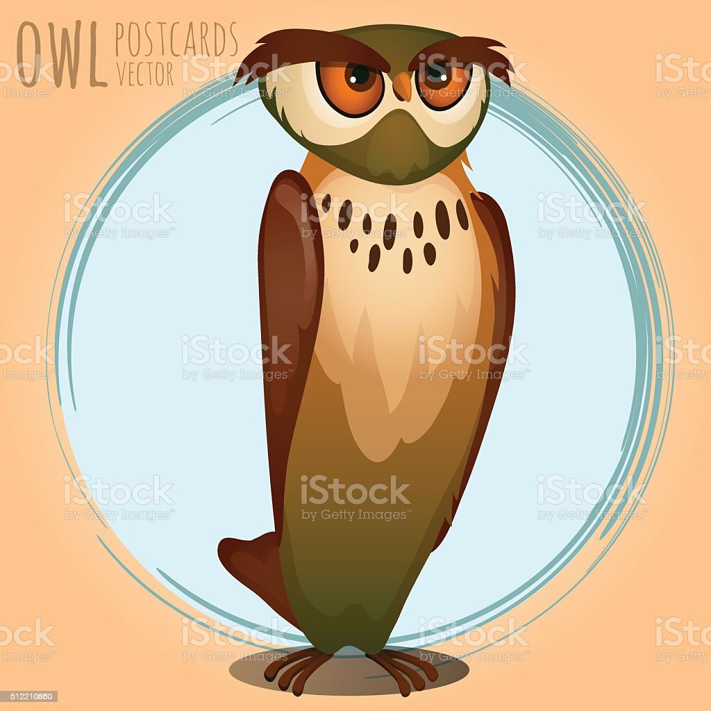 High brown owl, cartoon series vector art illustration