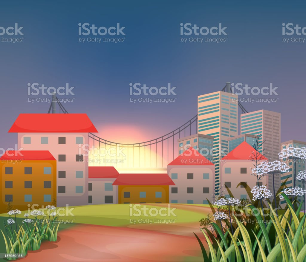 High buildings at the hilltop royalty-free stock vector art