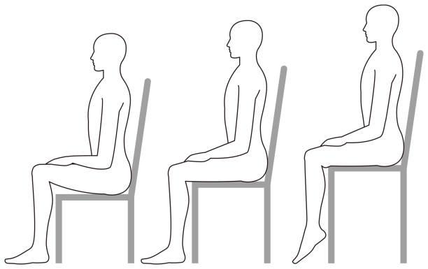 hochstühle und niedrigen stühlen zu sitzen - stuhllehnen stock-grafiken, -clipart, -cartoons und -symbole