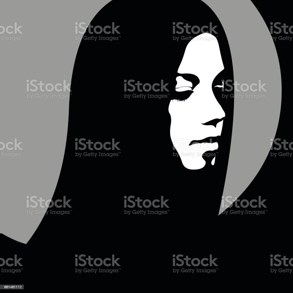 High contrast female portrait looking down in retro poster style. vector art illustration