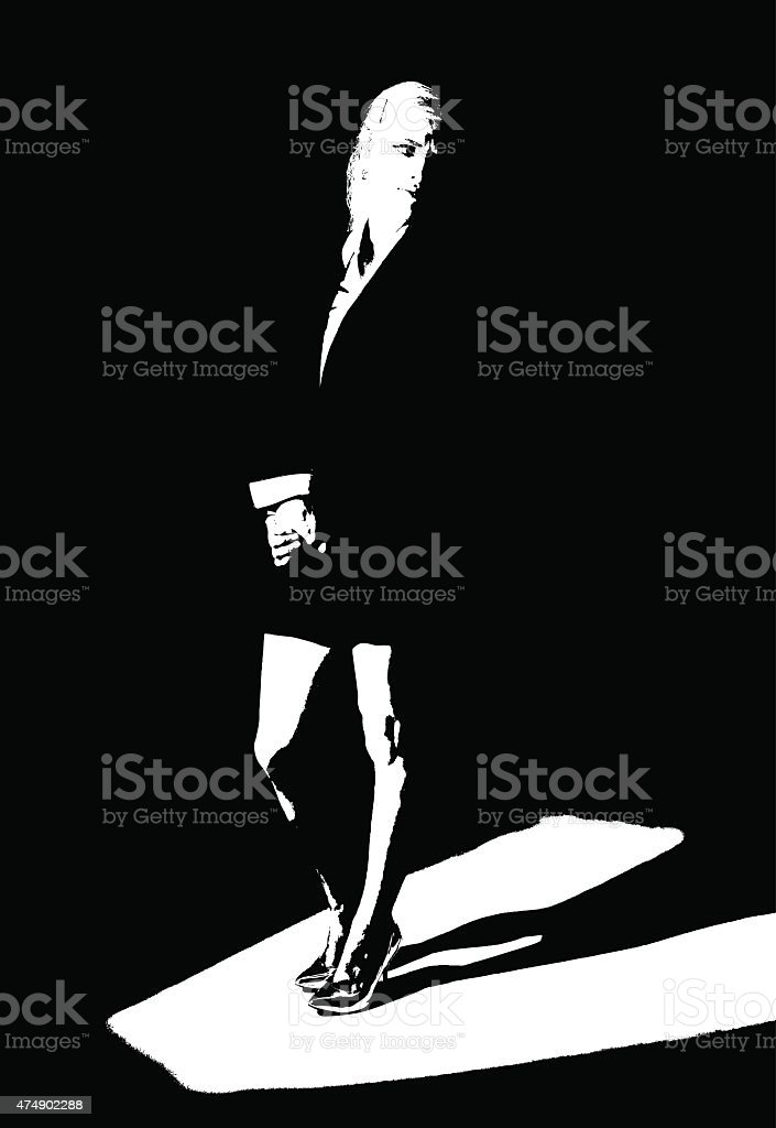 High Contrast Line Art Portrait of Businesswoman in Spotlight vector art illustration