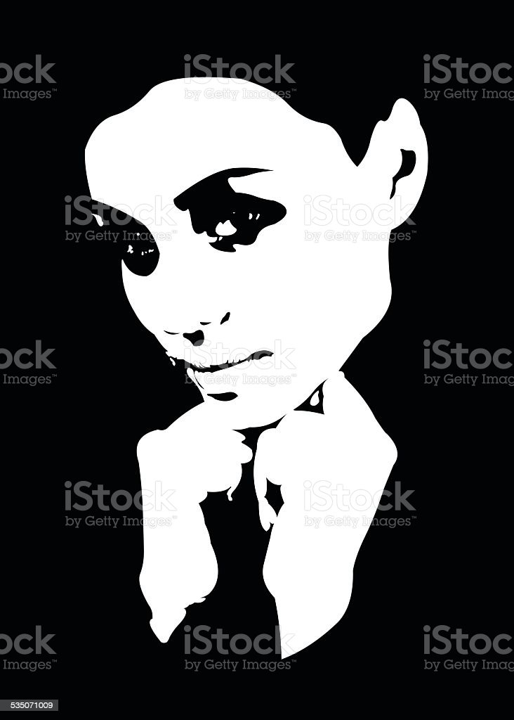 High contrast portrait of beautiful young woman vector art illustration