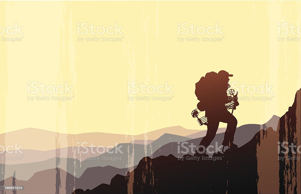 High Country Bow Hunter vector art illustration