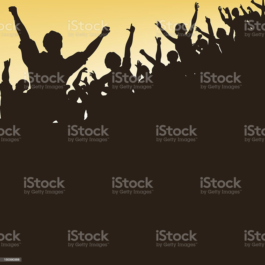 High crowd vector art illustration