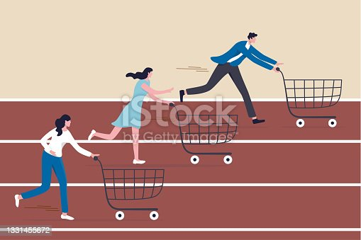 istock High demand products, sale season e-commerce discount website or marketing campaign drawing customers to buy product concept, consumer people with shopping cart compete in running race tracks. 1331455672
