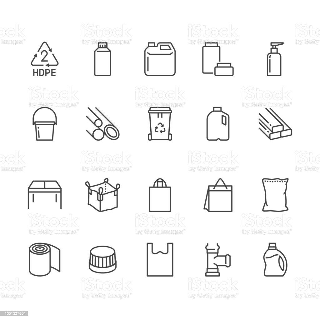 High Density Polyethylene Flat Line Icons Hdpe Products