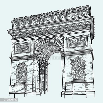 A detailed line art drawing of the Arc de Triomphe in Paris. Separate layers, easy to remove from background.