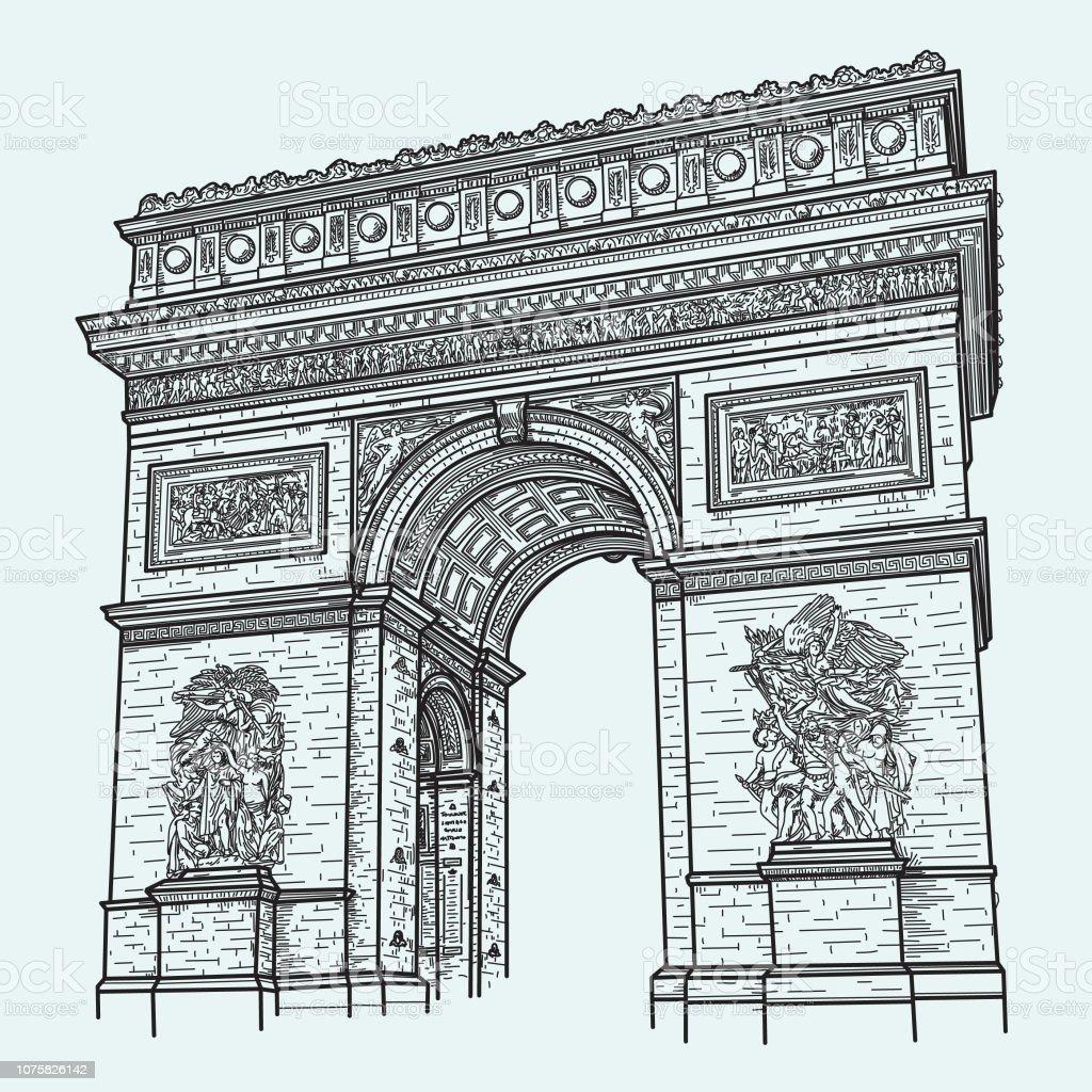 High Detail Arc de Triomphe, Paris vector art illustration