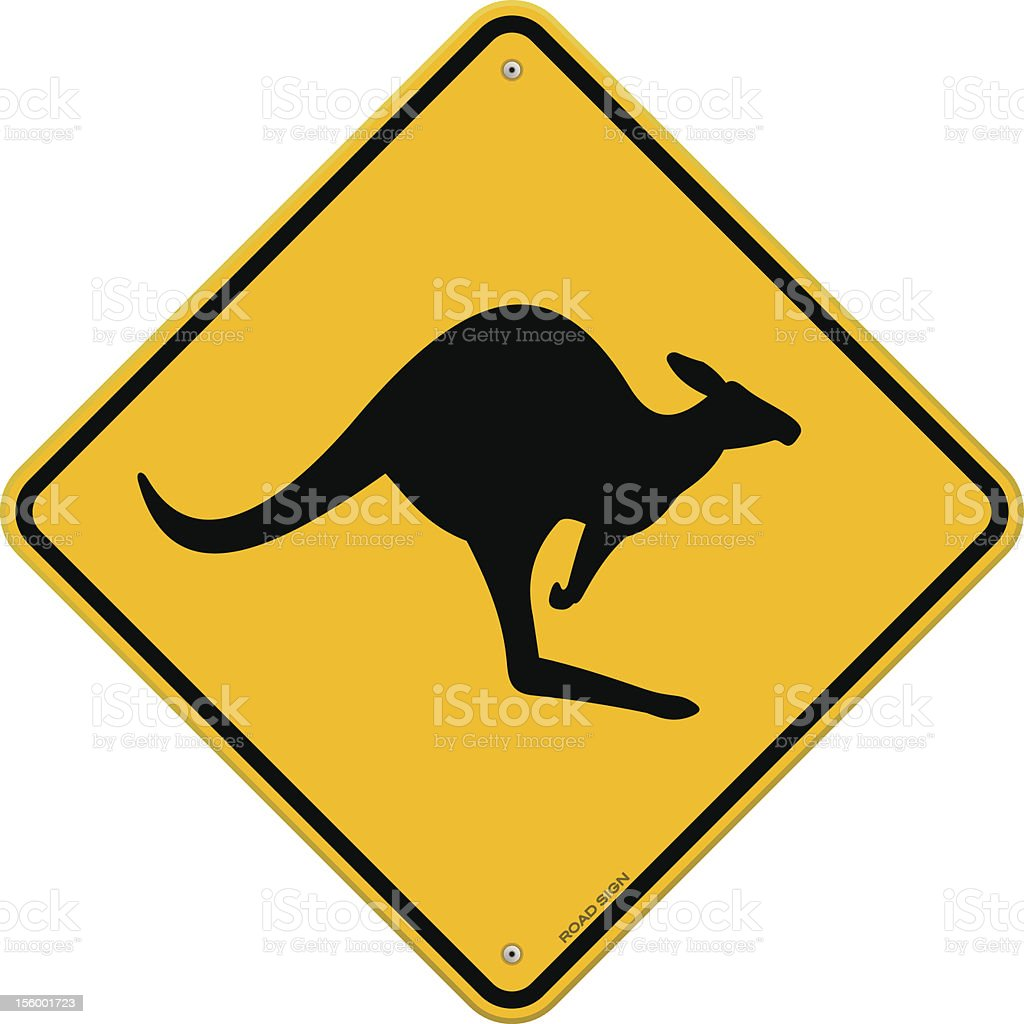 High Detail Kangaroo Sign vector art illustration