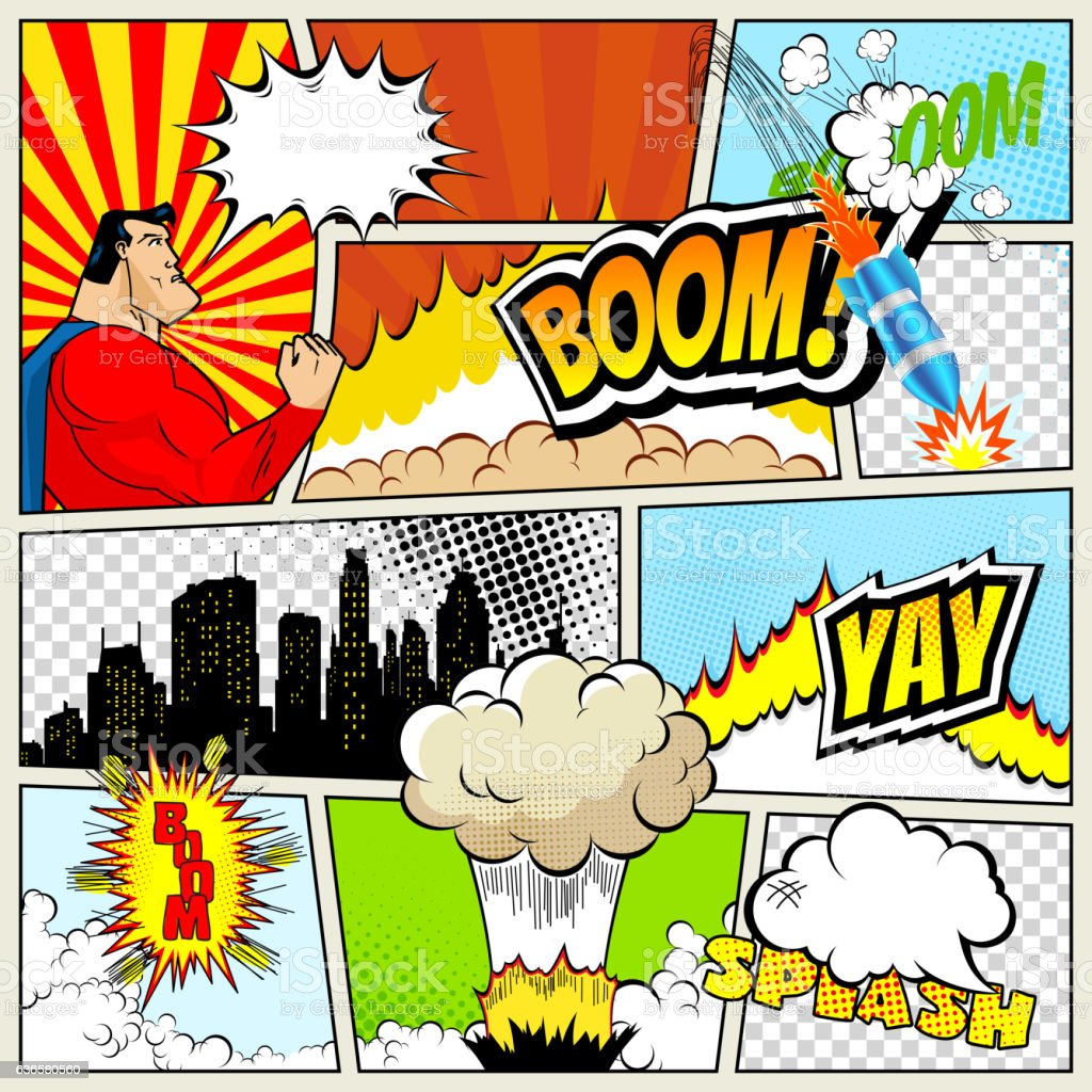 High detail vector mock-up of typical comic book page vector art illustration