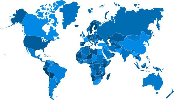mapa świata o wysokim detalu. wszystkie elementy są oddzielone w krajach edytowalnych. - mapa świata stock illustrations