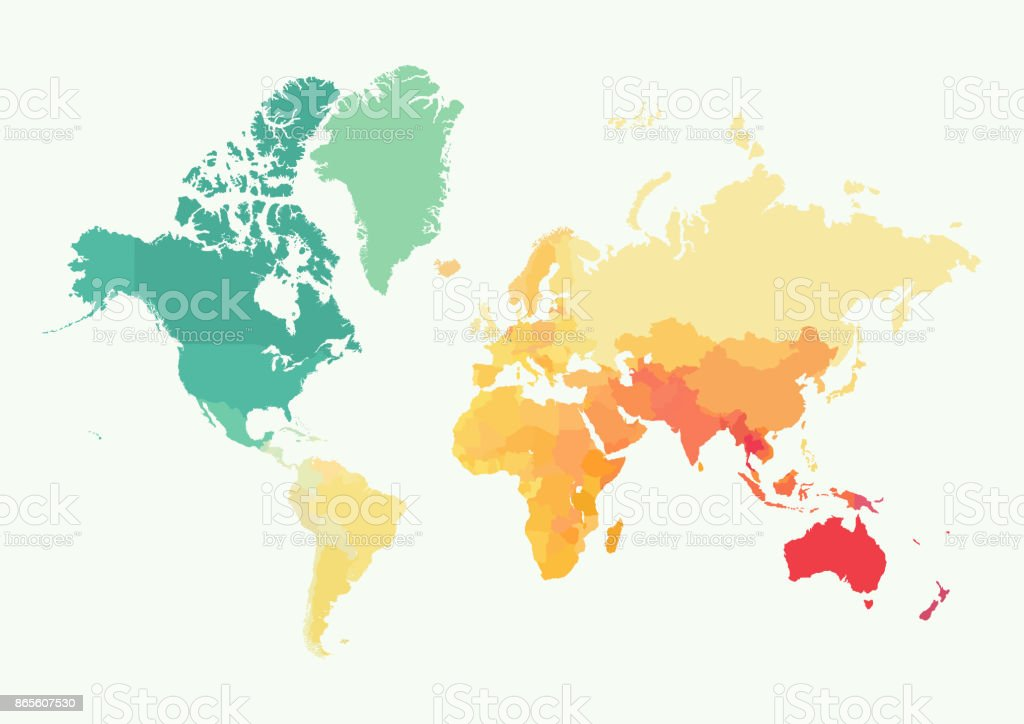 High detail world map with color