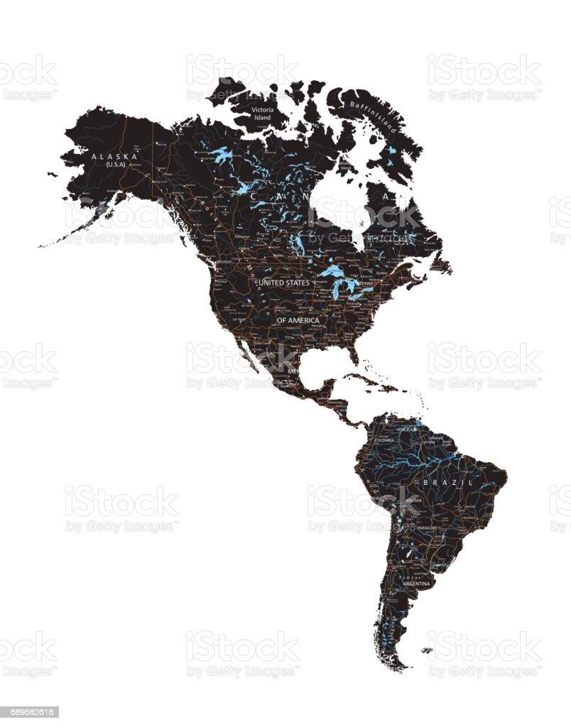 Hoch Detaillierte Americas Straßenkarte Mit Beschriftung Schwarz