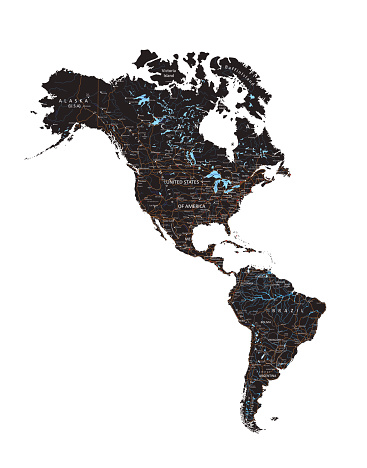High detailed  Americas road map with labeling - Black.
