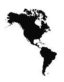 High detailed Americas silhouette map with labeling.