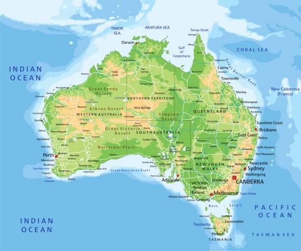 ilustraciones, imágenes clip art, dibujos animados e iconos de stock de alto mapa físico detallado de australia con el etiquetado. - australia
