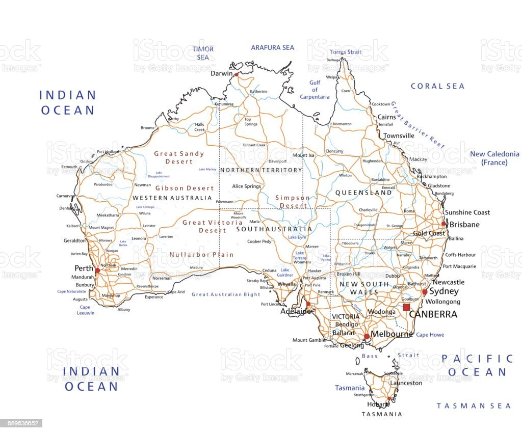 high detailed australia road map with labeling royalty free high detailed australia road map
