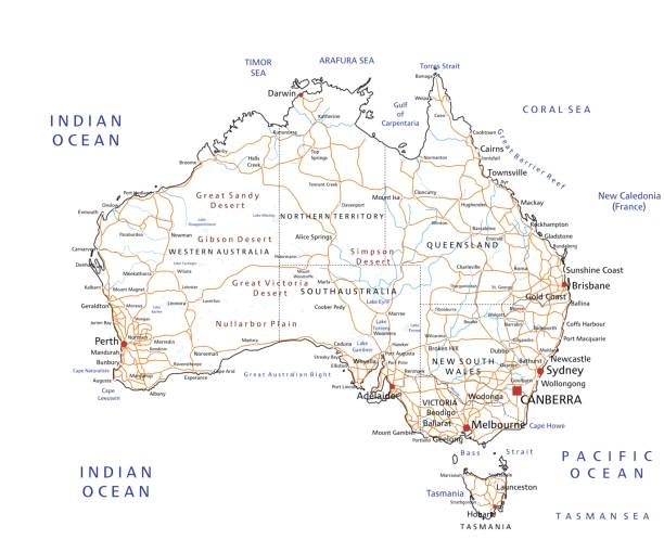 High detailed Australia road map with labeling. vector art illustration