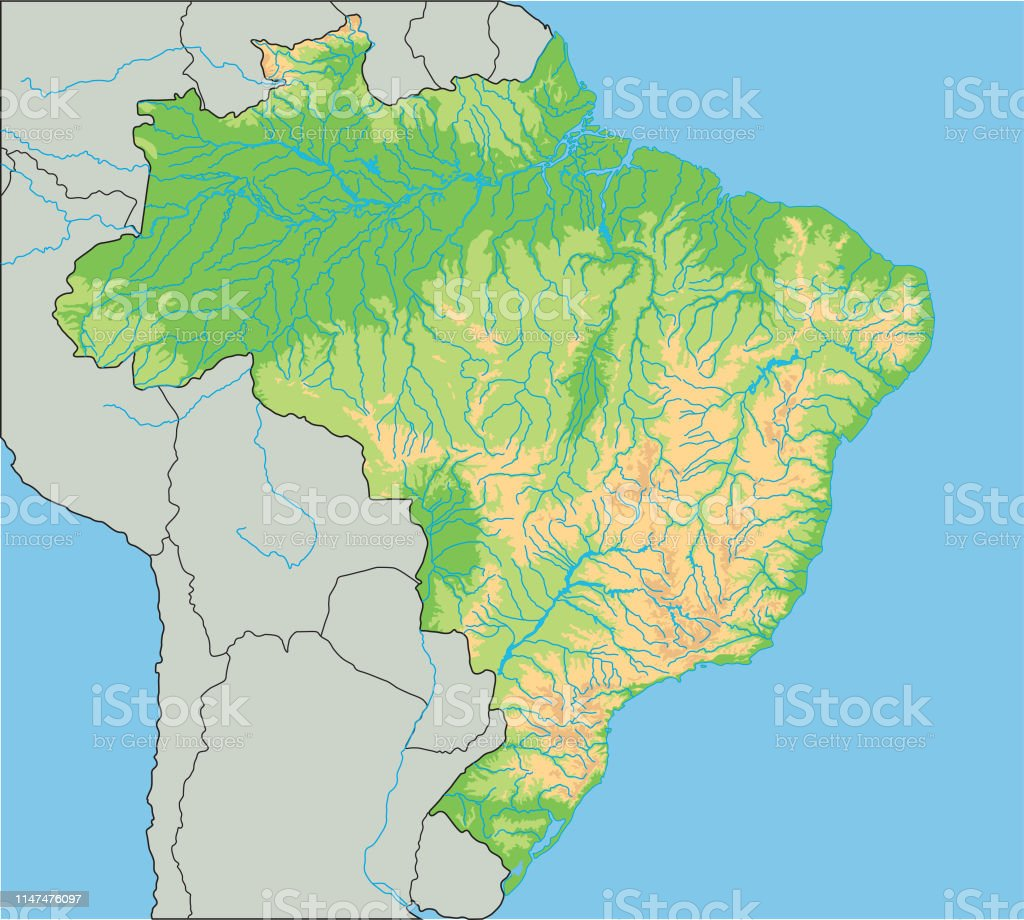 High Detailed Brazil Physical Map Stock Illustration ...
