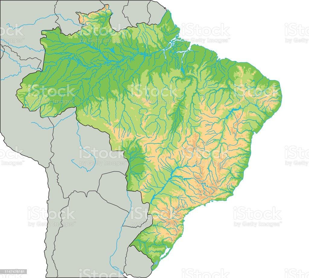 High Detailed Brazil Physical Map Stock Vector Art & More ...