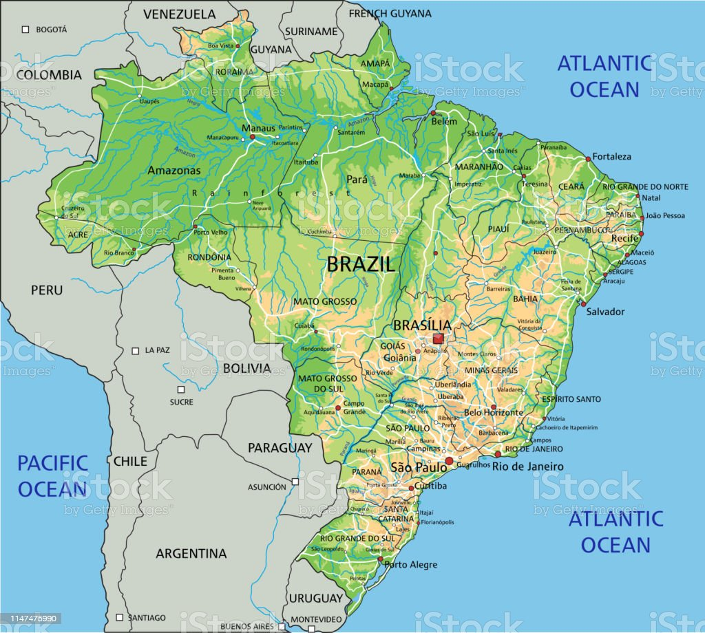 High Detailed Brazil Physical Map With Labeling Stock ...