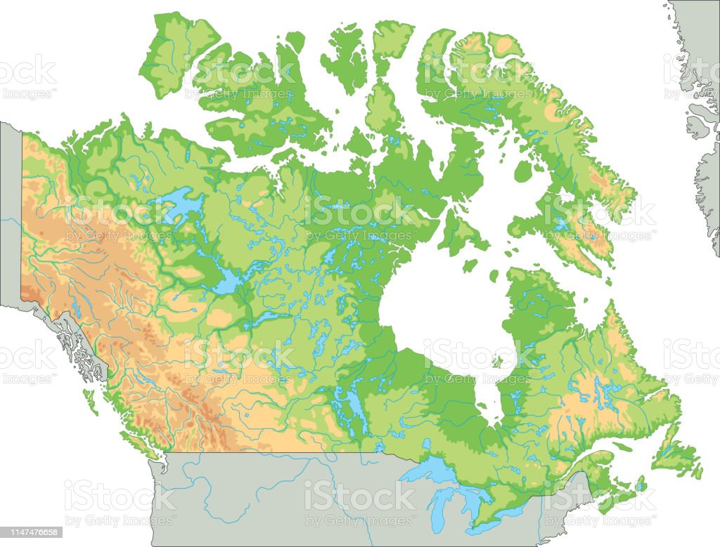 High Detailed Canada Physical Map Stock Illustration ...