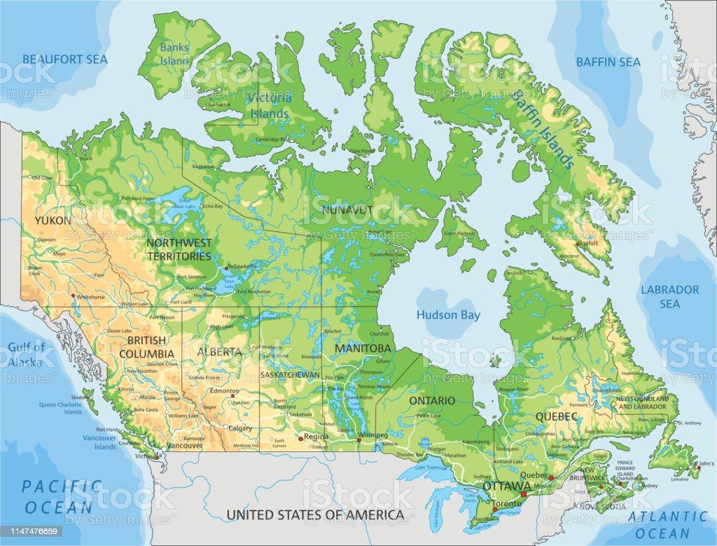 Canada Cartina Fisica.Mappa Fisica Canada Altamente Dettagliata Con Etichettatura Immagini Vettoriali Stock E Altre Immagini Di America Del Nord Istock