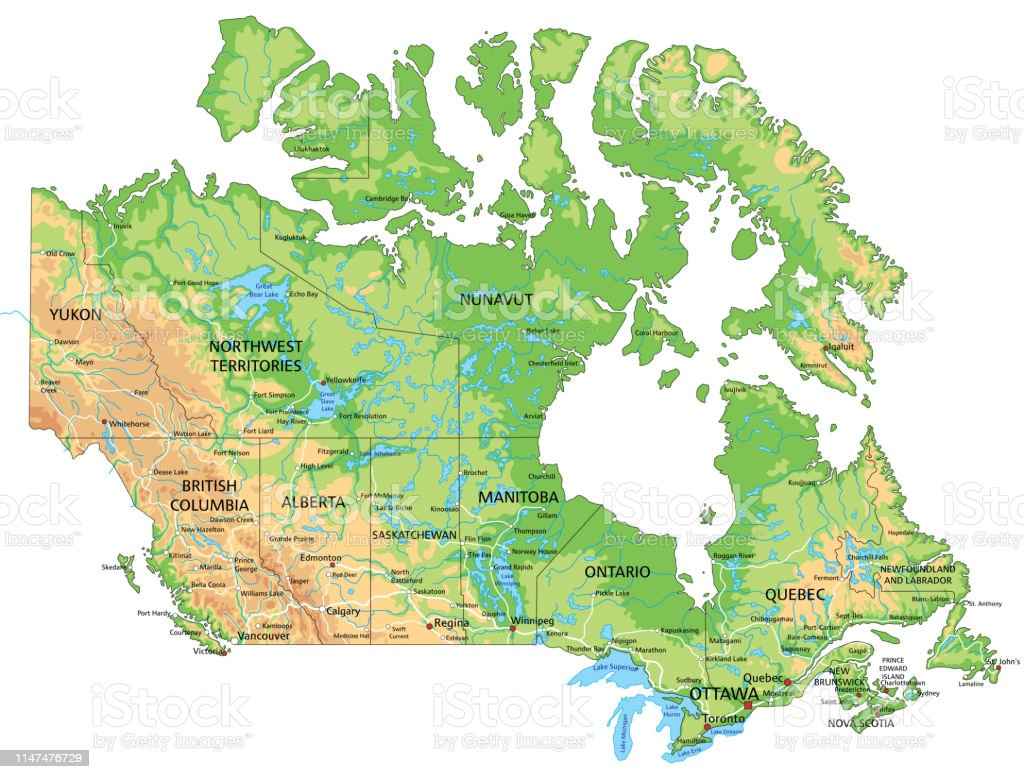 High Detailed Canada Physical Map With Labeling Stock ...