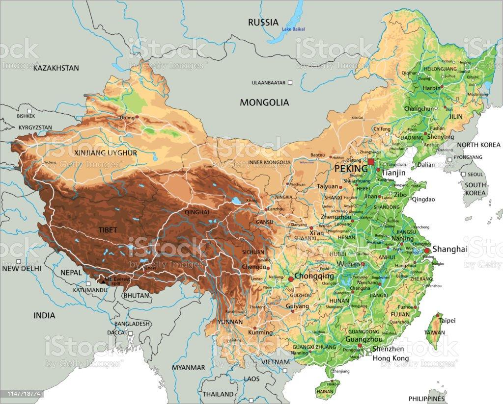 Mapa Fisico De China.Ilustracion De Mapa Fisico Alto Detallado De China Con