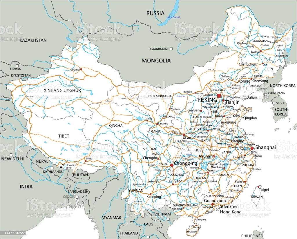 High detailed China road map with labeling. Organized vector...