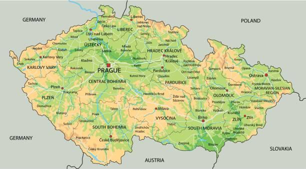 high detailed czech republic physical map with labeling. - republika czeska stock illustrations