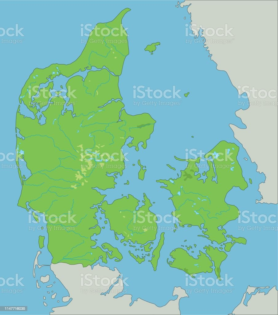 Image of: High Detailed Denmark Physical Map Stock Illustration Download Image Now Istock