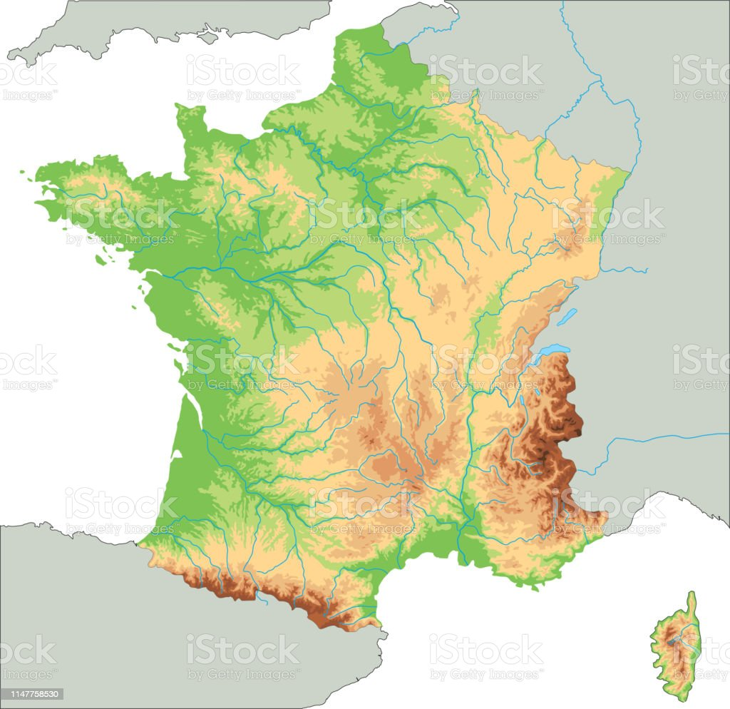 High Detailed France Physical Map Stock Vector Art & More Images of ...