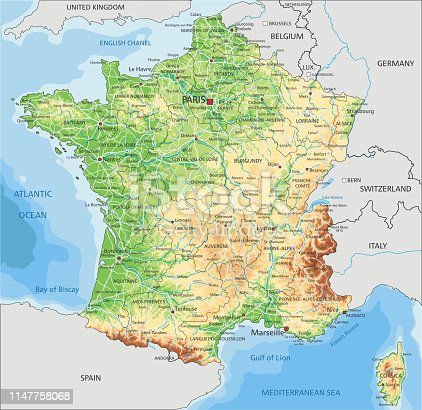 High detailed France physical map with labeling. Organized vector illustration on seprated layers.