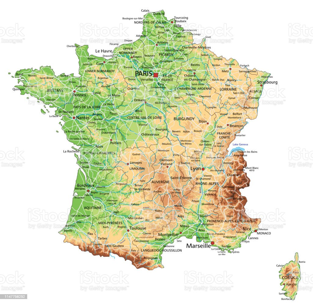 Labeled Map Of France