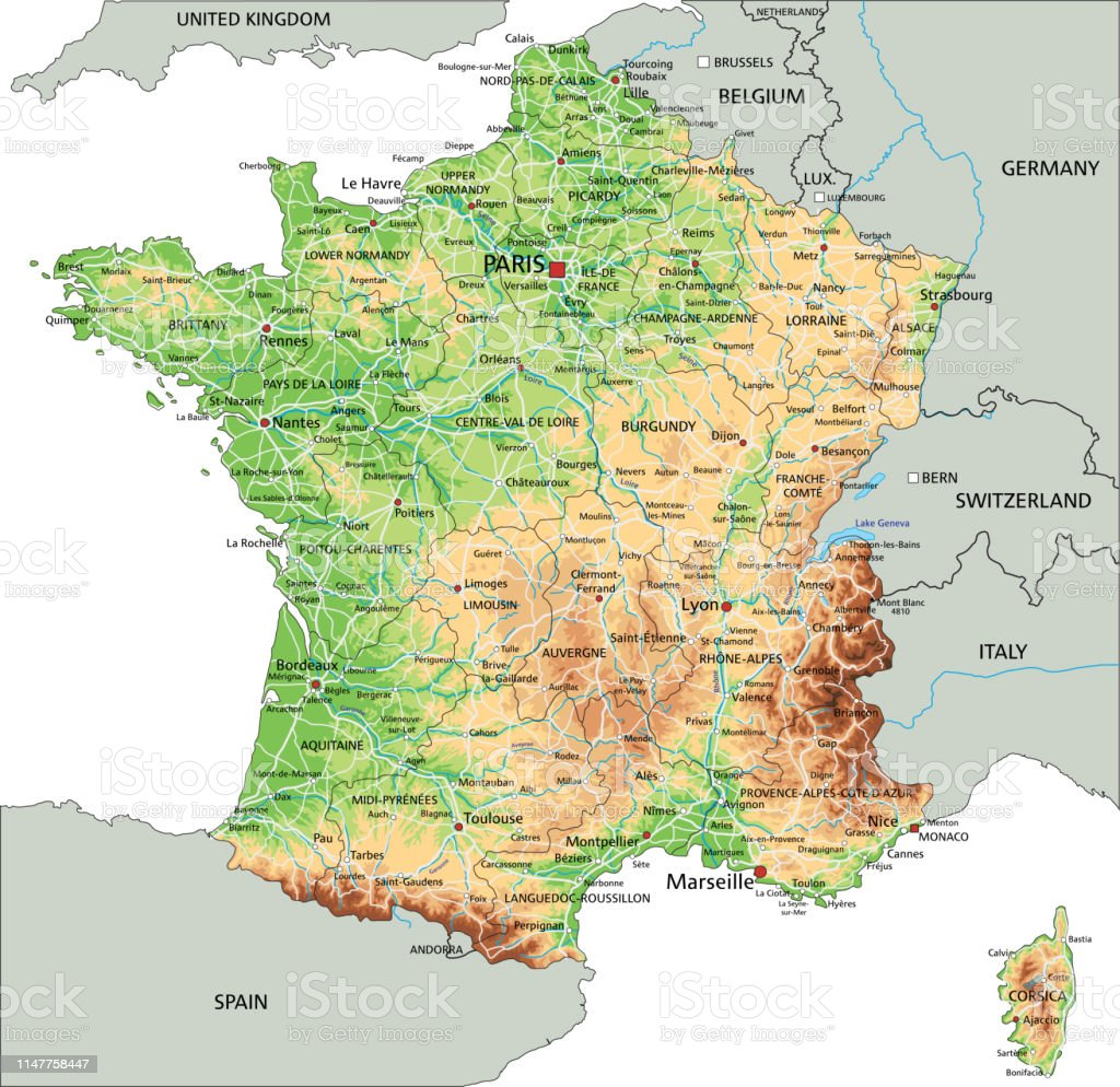 Labeled Map Of France.High Detailed France Physical Map With Labeling Stock Illustration