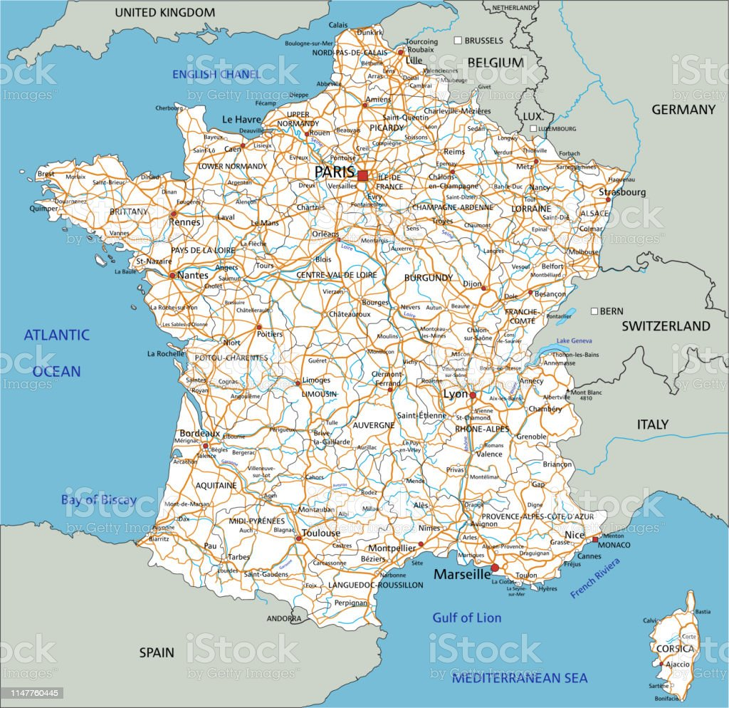 Downloadable Road Map Of France.High Detailed France Road Map With Labeling Stock Illustration
