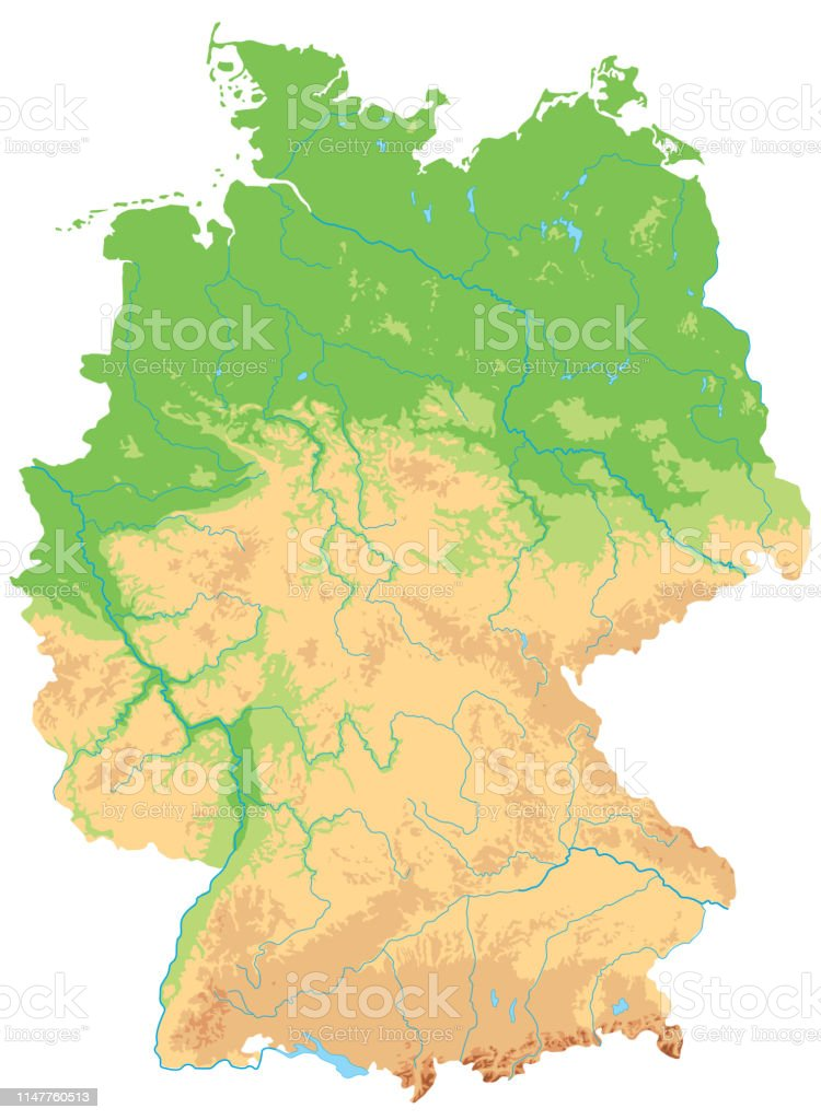 Picture of: High Detailed Germany Physical Map Stock Illustration Download Image Now Istock