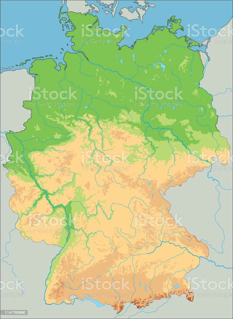 High Detailed Germany Physical Map Stock Illustration Download Image Now Istock