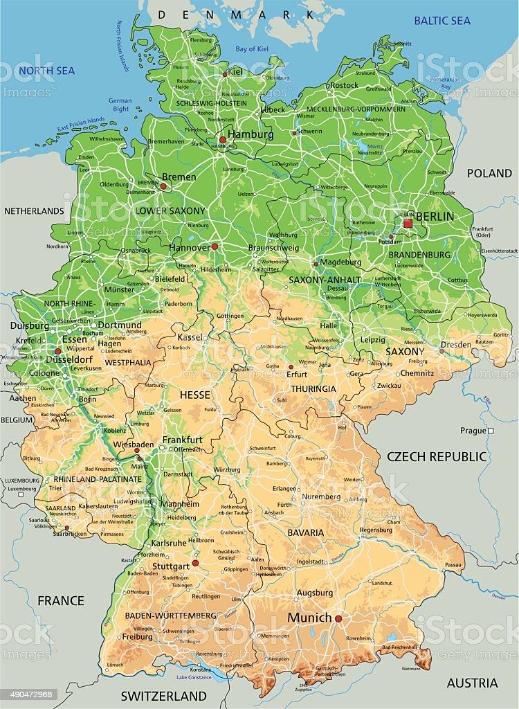 Alta detalhado Alemanha físico mapa. - ilustração de arte em vetor