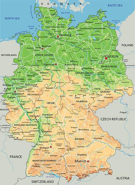 Mapa de alta detallada Alemania físico. - ilustración de arte vectorial
