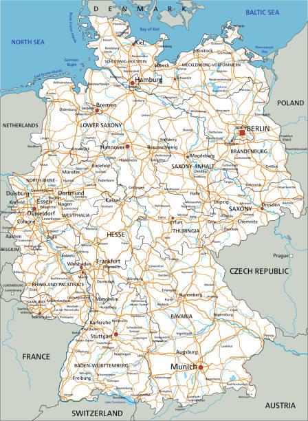 hochdetaillierter deutschlandfahrplan mit beschriftung. weiß. - hannover stock-grafiken, -clipart, -cartoons und -symbole