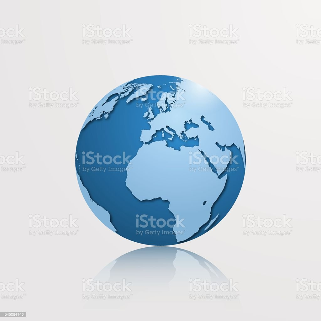 High detailed globe with Europe, Africa and Atlantic ocean. vector art illustration