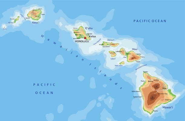 High detailed Hawaii physical map with labeling. High detailed Hawaii physical map with labeling. Organized vector illustration on seprated layers. big island hawaii islands stock illustrations