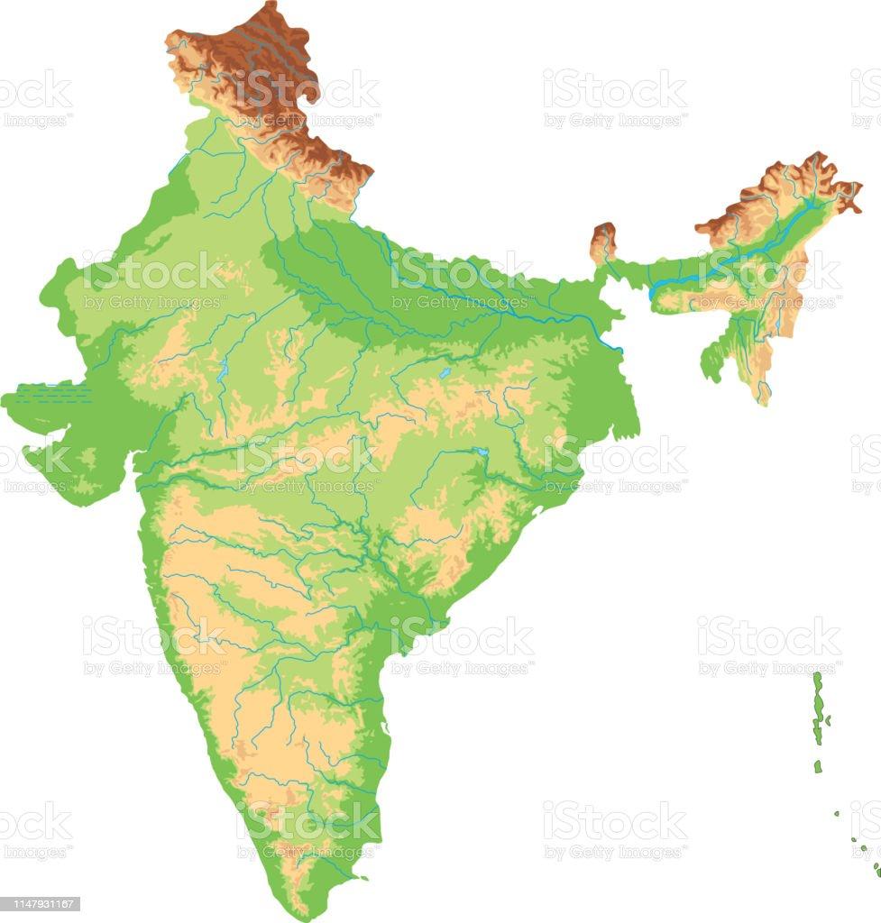 Rio Ganges Mapa Fisico.Vetores De Mapa Fisico Detalhado Elevado De India E Mais