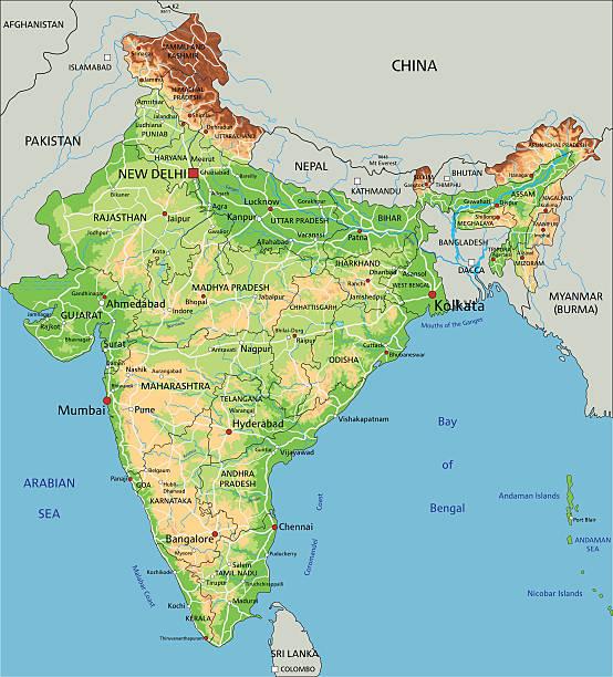 Cartina Geografica Dellindia Fisica.Alta Dettagliata India Fisica Mappa Immagini Vettoriali Stock E Altre Immagini Di 2015 Istock