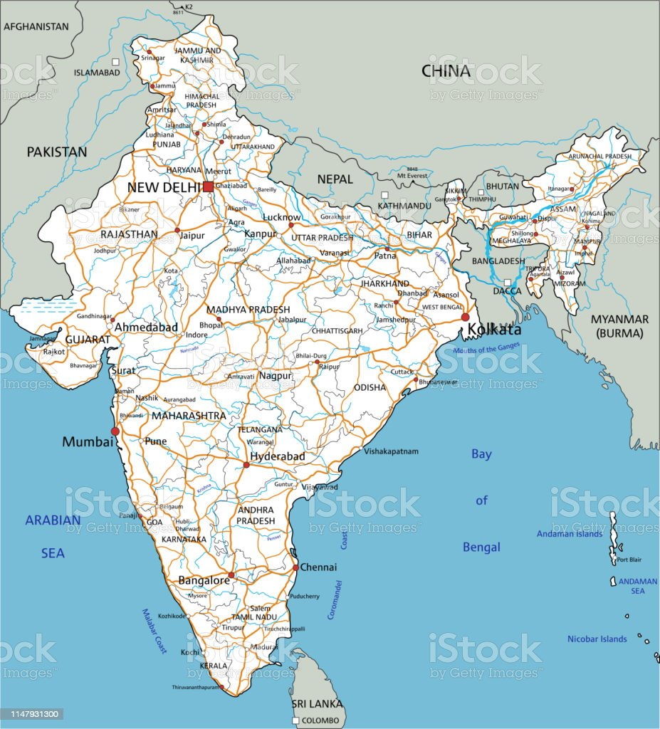 India Road Map Download High Detailed India Road Map With Labeling Stock Illustration