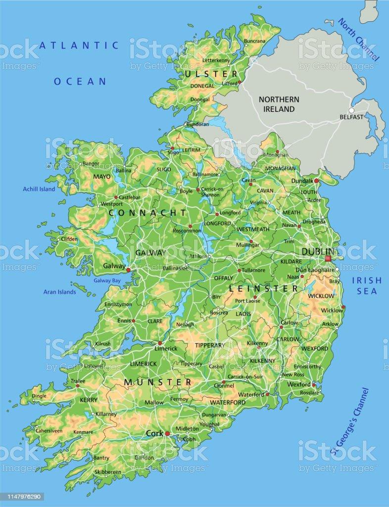Cartina Geografica Fisica Dell Irlanda.Mappa Fisica Dellirlanda Ad Alta Dettaglio Con Etichettatura Immagini Vettoriali Stock E Altre Immagini Di Astratto Istock