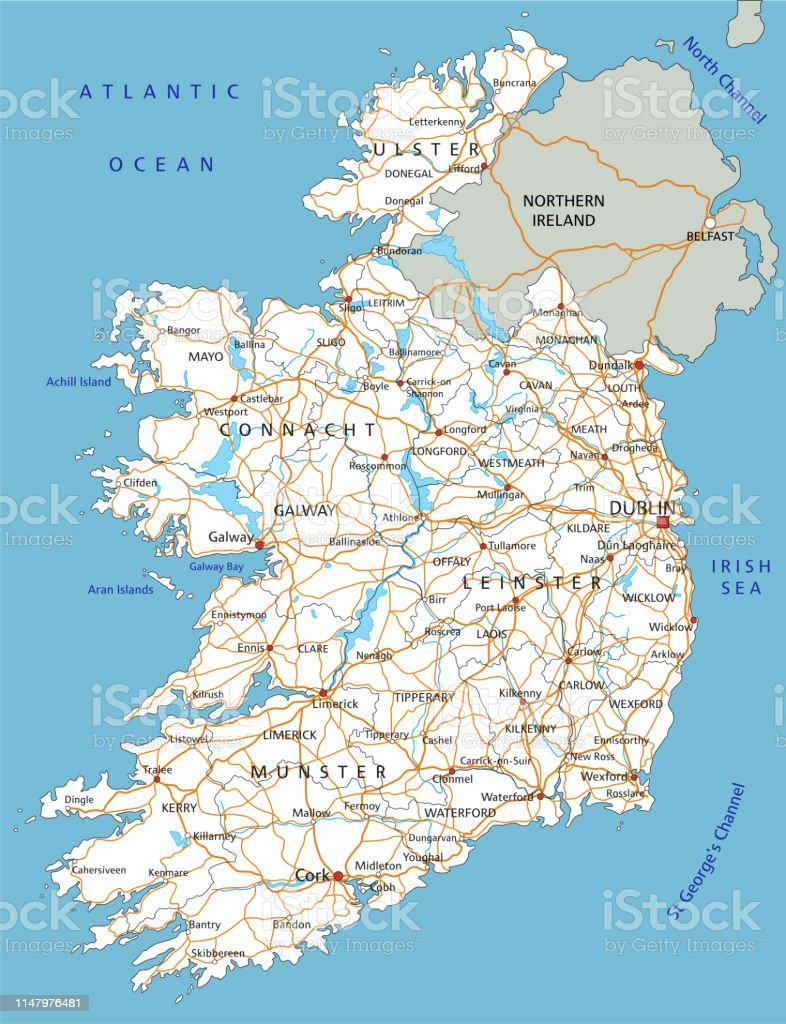 Detailed Map Of Ireland.High Detailed Ireland Road Map With Labeling Stock Illustration